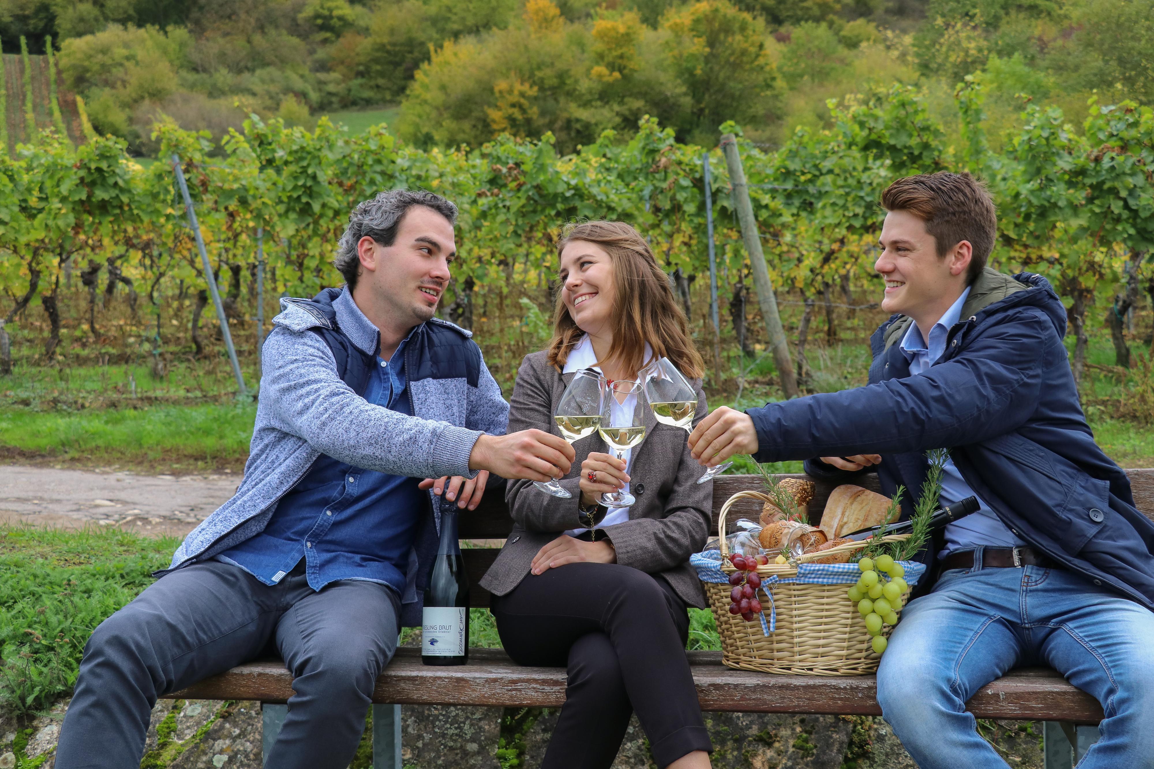 Junge Frau mit zwei Männern auf einer Bank im Weinberg mit Weingläsern und reich gefülltem Picknickkorb