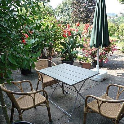 Foto: Sitzplatz auf der Terasse