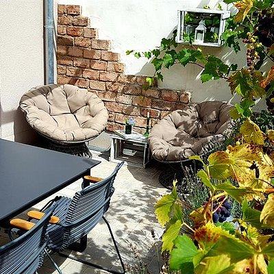 Foto: Die Terrasse von Weinreben umrankt
